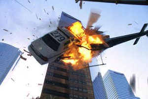 Image of a car crashing into a helicopter