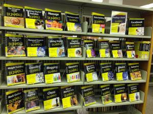 Picture of For Dummies books on display shelf.