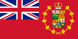 A version of the Red Ensign with the Coat of Arms altered to recognize Manitoba's entry into Confederation.