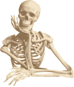Cartoon image of a skeleton in a thoughtful pose.
