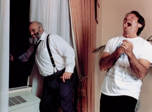 "Oliver Sacks and Robin Williams on the set of ""Awakenings"""